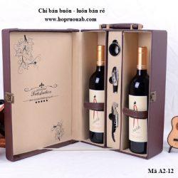 hộp rượu da đôi
