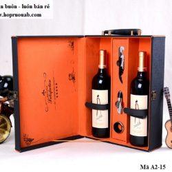 hộp rượu da đôi A2-15