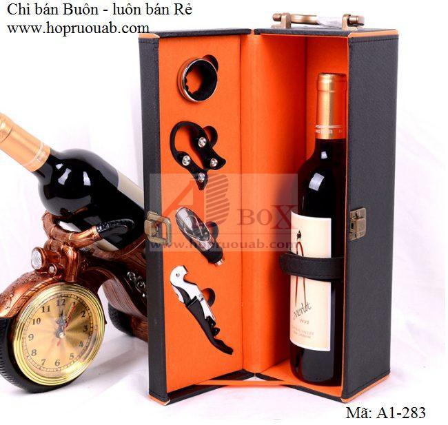 hộp đựng rượu da đơn