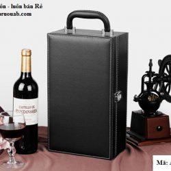 hộp rượu da hai ngăn