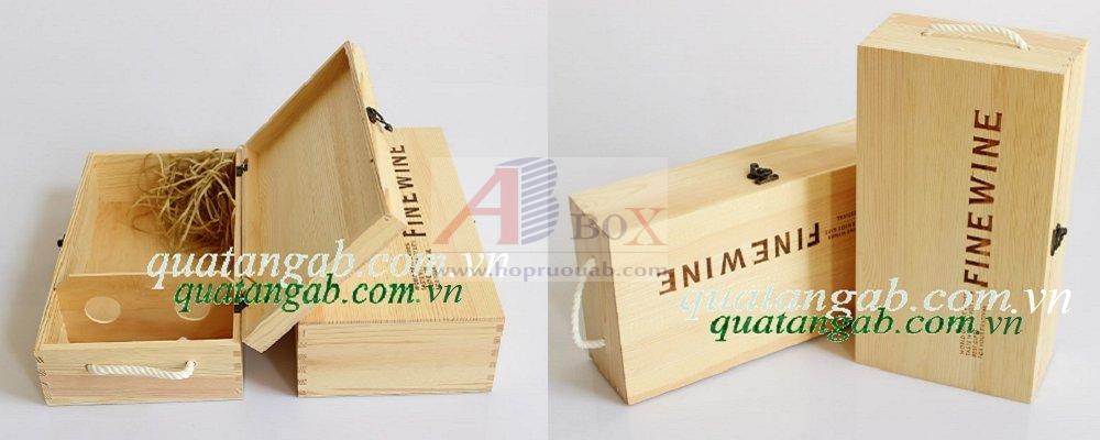 hộp rượu gỗ thông