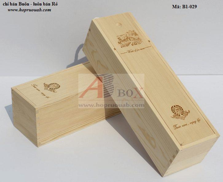 Hộp rượu vang một chai bằng gỗ