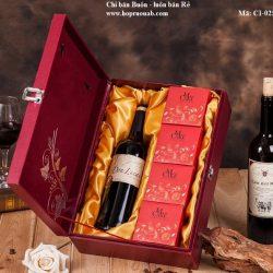 hộp bánh trung thu kèm rượu vang cao cấp