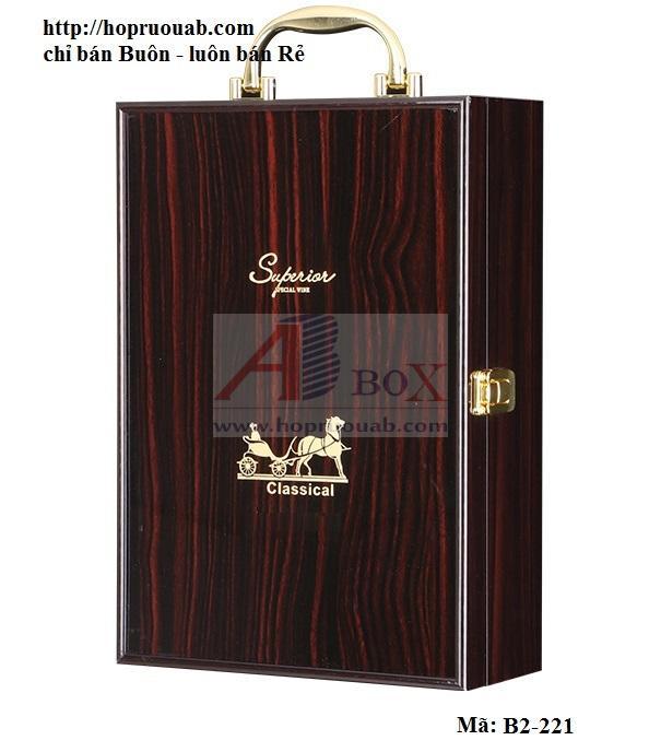 Hộp gỗ đựng hai chai rượu vang cao cấp B2-221