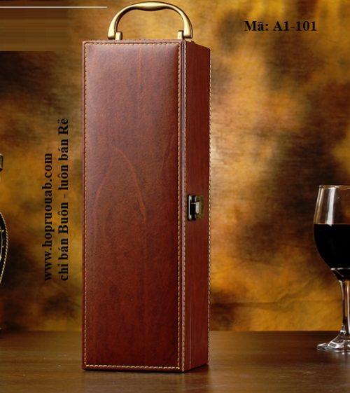 hộp rượu da đơn
