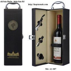 Hộp rượu vang một ngăn chất liệu da màu đen