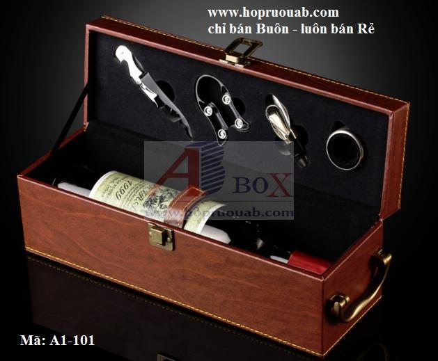 hộp rượu vang da bò