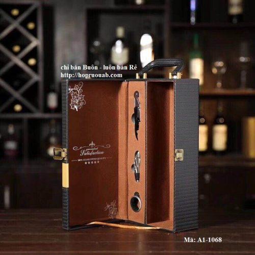 Hộp rượu da đựng rượu vang một ngăn mặt đồng tiền