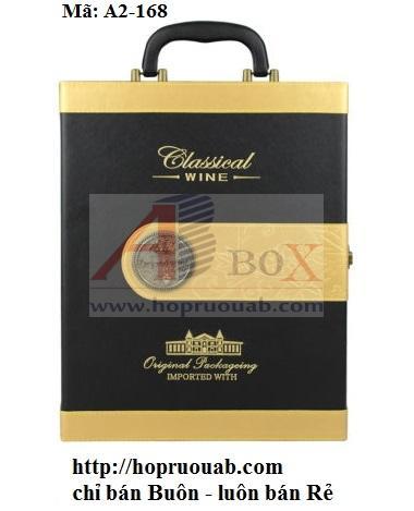 hộp rượu da hai chai