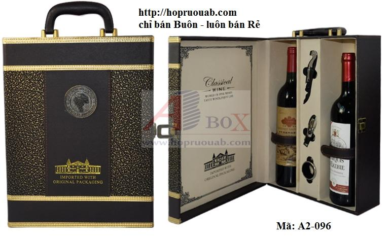 Hộp rượu vang chất liệu da có hai ngăn A2-096