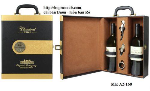 Hộp rượu chất liệu da có hai ngăn A2-168