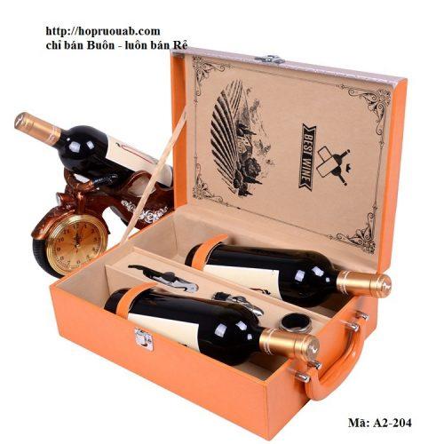 Hộp đựng rượu vang chất liệu da hai ngăn A2-204