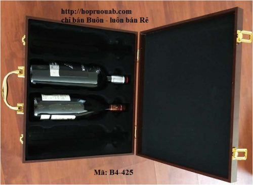 Hộp gỗ đựng bốn chai rượu vang cao cấp B4-425