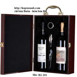 Hộp rượu gỗ hai chai rượu vang