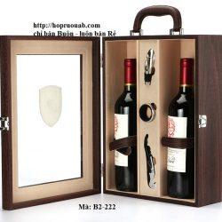 Hộp rượu vang bằng gỗ hai chai