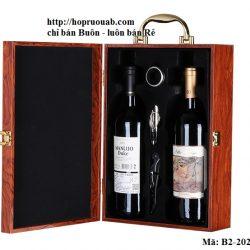 Hộp rượu vang hai chai bằng gỗ