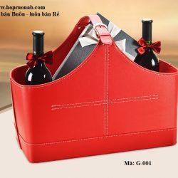 giỏ quà da đựng rượu vang