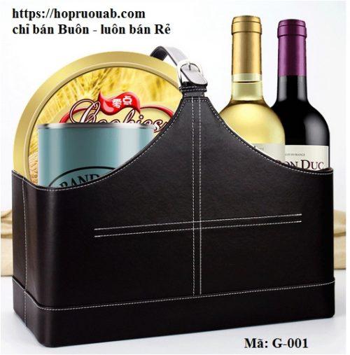 Giỏ da đựng rượu vang quà tết