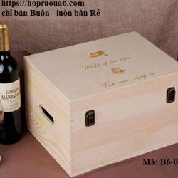 Hộp gỗ thông đựng 6 chai rượu vang