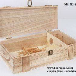 Hộp rượu vang gỗ thông đôi