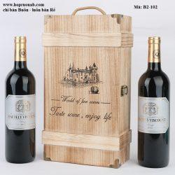 Hộp rượu vang gỗ thông 2 chai