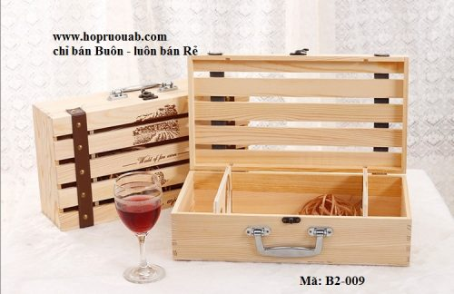 Hộp gỗ thông đựng rượu vang 2 chai