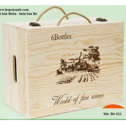 hộp rượu gỗ thông 6 chai