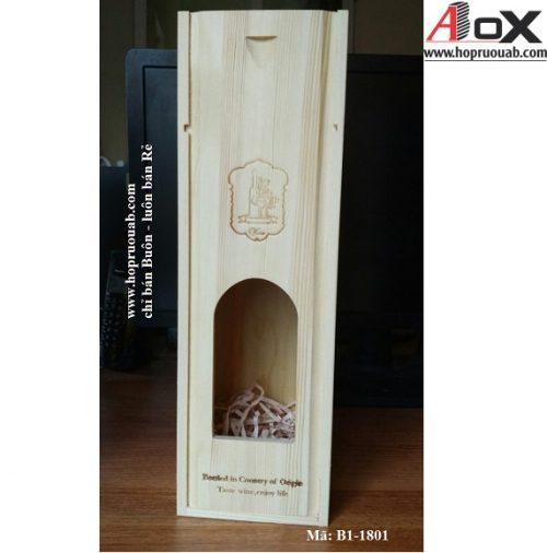 hộp rượu vang gỗ thông 1 chai