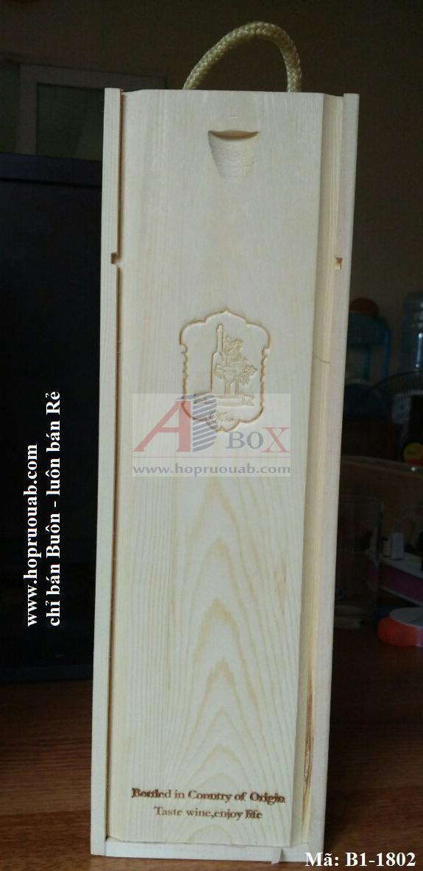 hộp rượu gỗ thông 1 chai vang