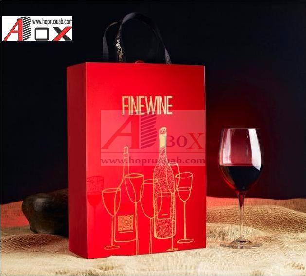 Hộp rượu giấy đựng 2 chai rượu vang